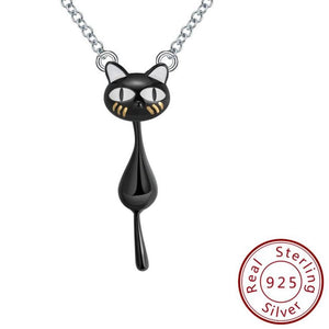 925 Sterling Black Cat Silver Necklace
