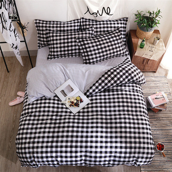 Black Square Bedding Set Comforter in King Queen Double and Twin size