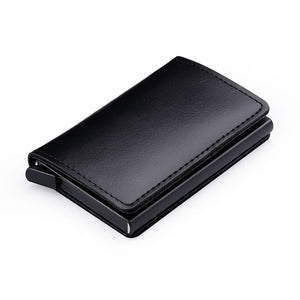 RFID Blocking 100% Genuine Leather and aluminum Credit Card Holder