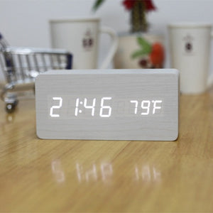 Rectangle wooden LED Alarm Clock