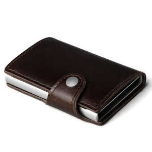 Genuine Leather and Aluminum Wallet With Back Pocket ID Card RFID Blocking