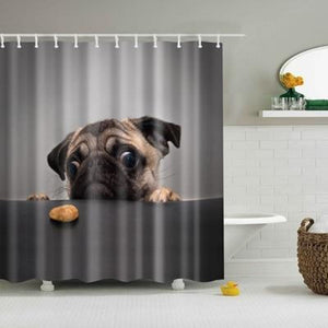 Pug Shower Curtain - 180X180
