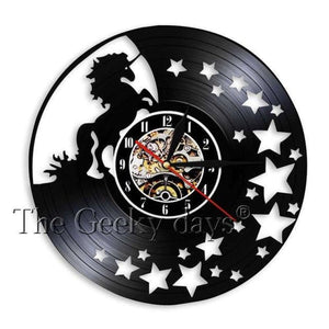 Unicorn Chasing Stars Vinyl Clock - Without Led
