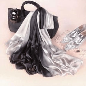 White/black Silk Scarf