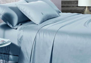 500TC Cotton Sateen Blue Fitted Sheet