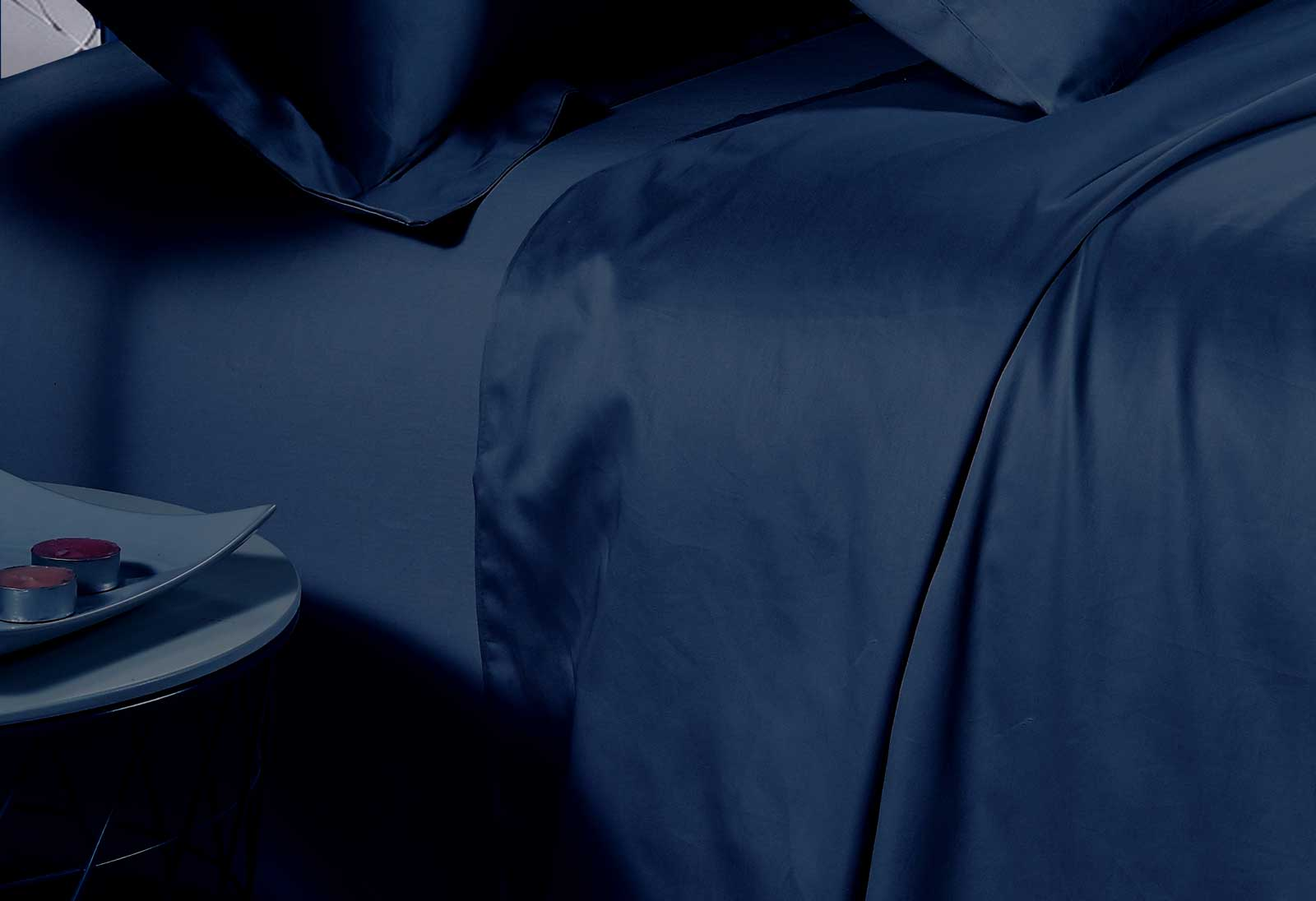 500TC Cotton Sateen Navy Fitted Sheet