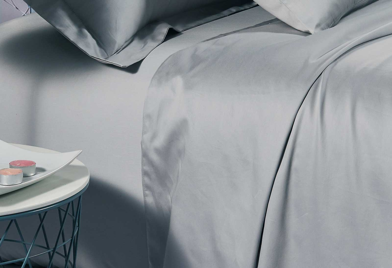 500TC Cotton Sateen Silver Fitted Sheet