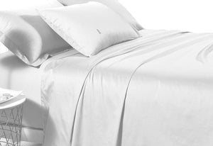 500TC Cotton Sateen White Fitted Sheet