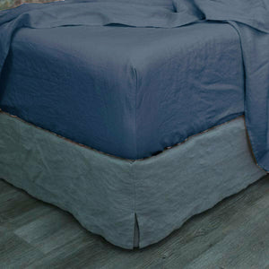 single / queen / king size Deep Blue Vintage Washed Fitted Sheet