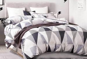 Luxton Neo in Black quilt cover set / doona cover set- retro design in Queen / King