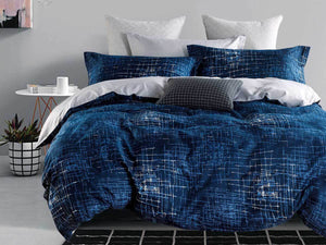 Luxton Milton Navy Quilt Cover Set in Queen/ King Size