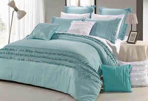 Haze Aqua Quilt Cover in King or Queen Size