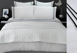 Black Trim Queen duvet cover or King Quilt Cover Set with white pillowcases set