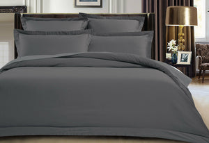 500TC Cotton Sateen Charcoal Quilt Cover Set