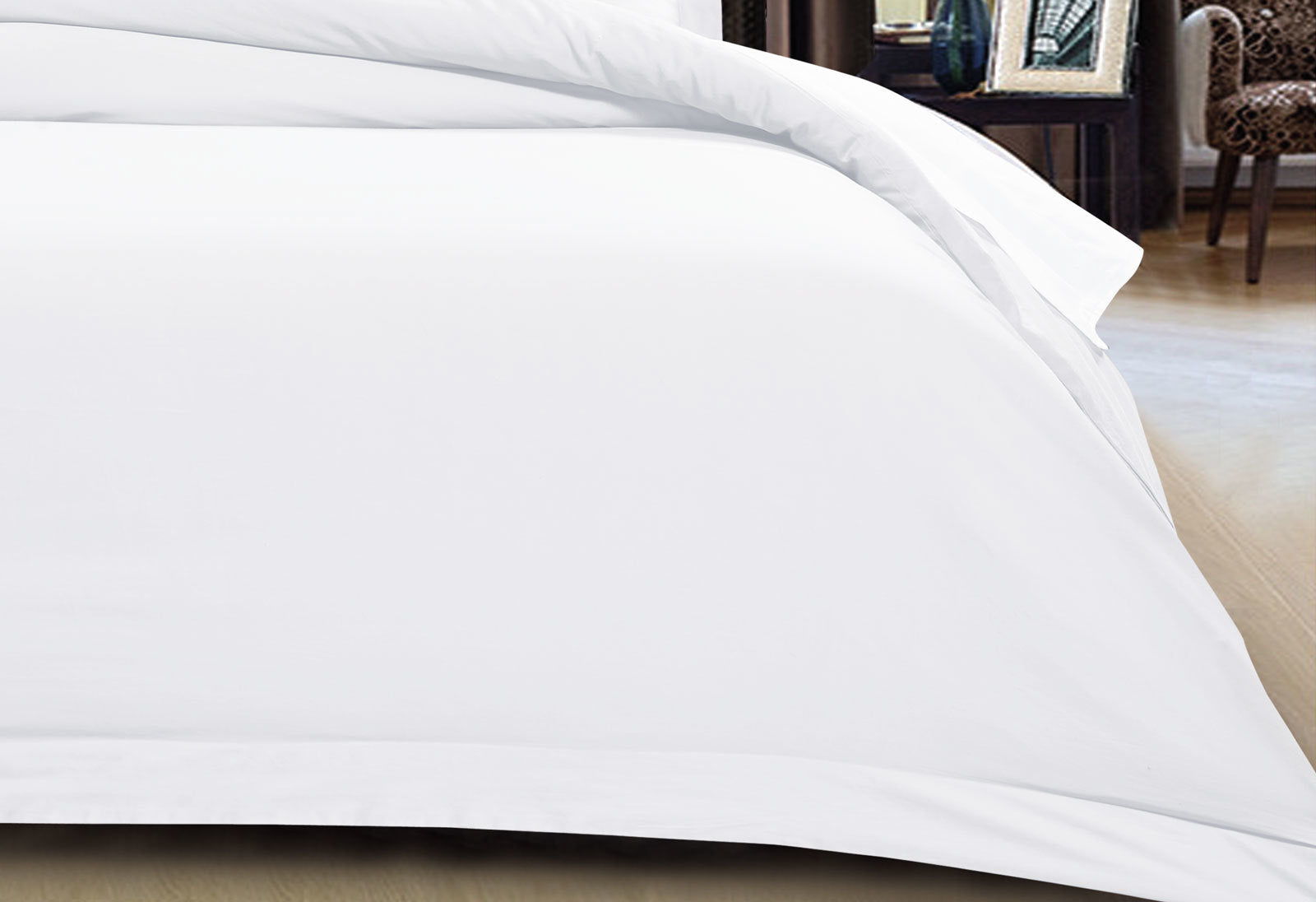 500TC Cotton Sateen White Quilt Cover Set