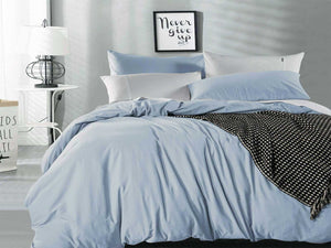 Luxton Pure Cotton Blue Fog Vintage Washed Quilt Cover Set