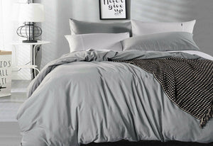 Luxton Pure Cotton Pewter Vintage Washed Quilt Cover Set