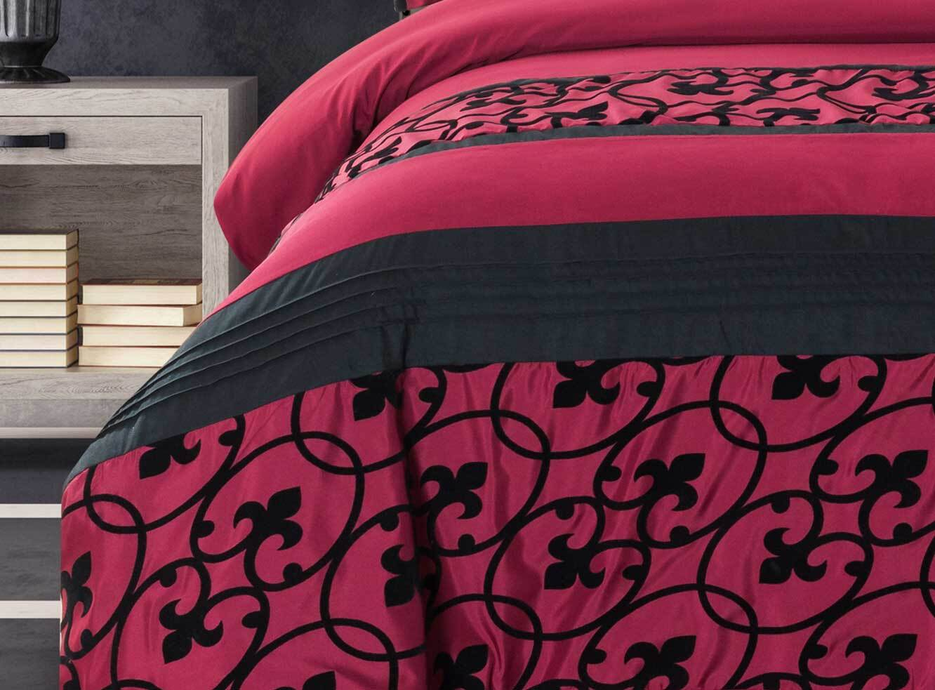 Luxton Afton Red and Black Quilt Cover Set in Super King / Queen / King Size