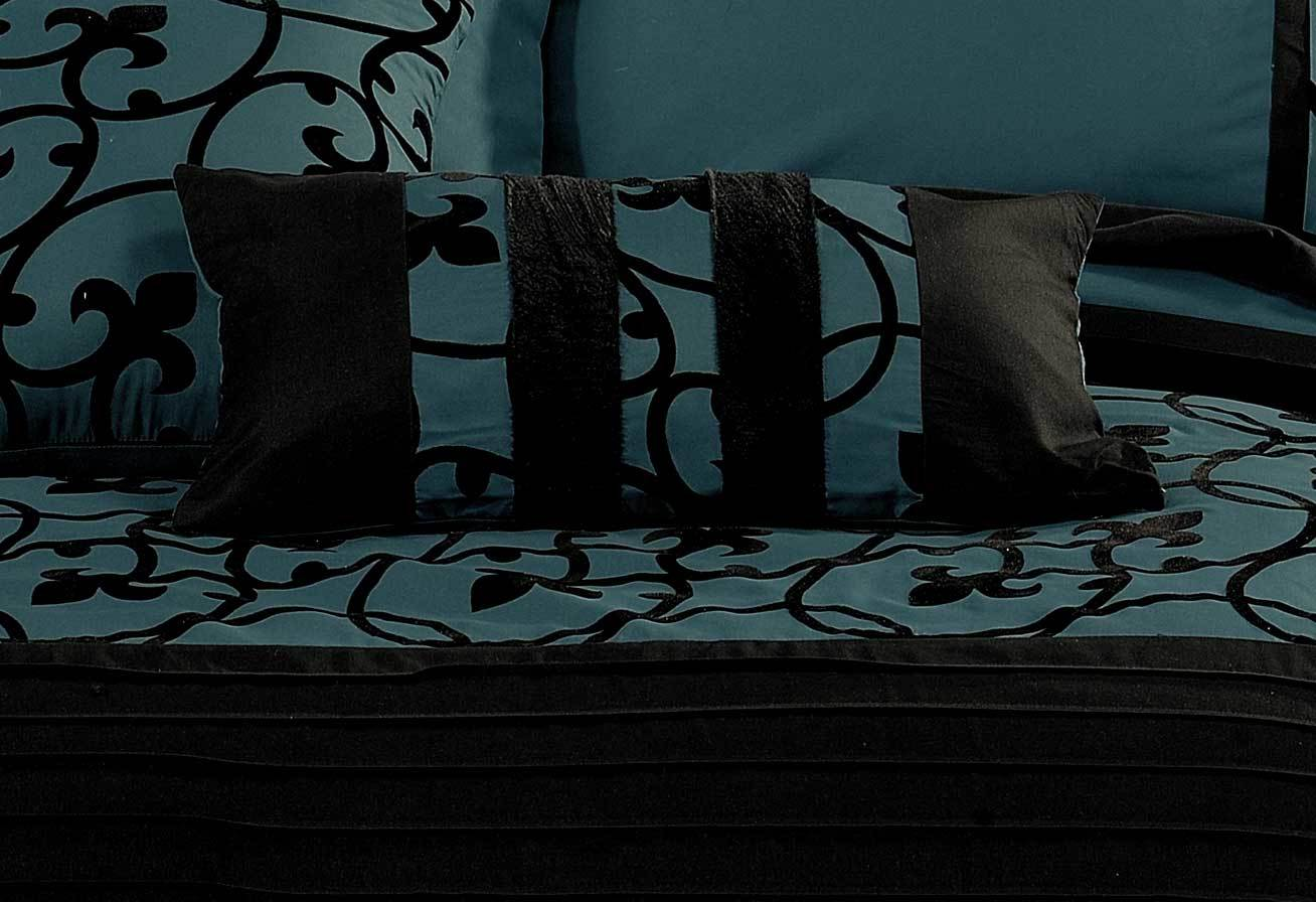 Lyde Black Teal Quilt Cover Set