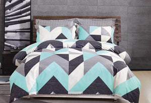 Chevron Aqua Quilt Cover Set