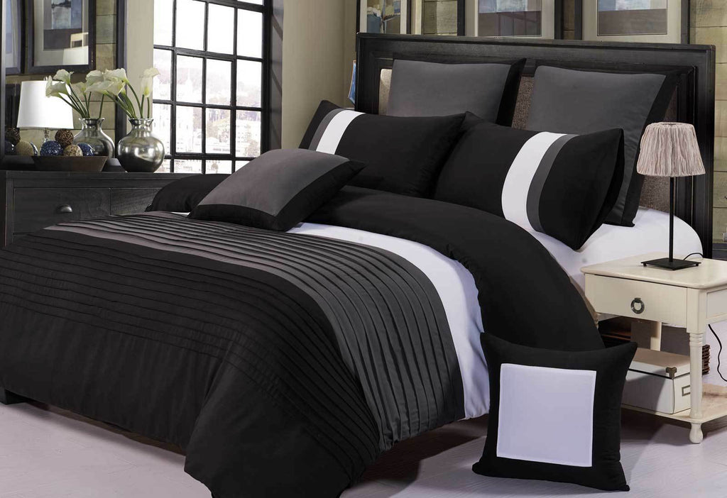 Aleah Quilt Cover Black and Grey Pintuck Duvet Cover Set