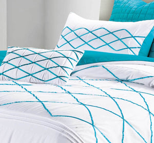 Luxton Adela White and Turquoise Blue Quilt Cover Set