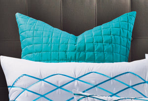 Adela White and Turquoise Blue Quilt Cover Set