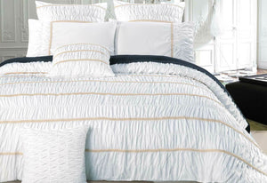 Resana White King / Queen Quilt Cover Set with optional European pillowcases