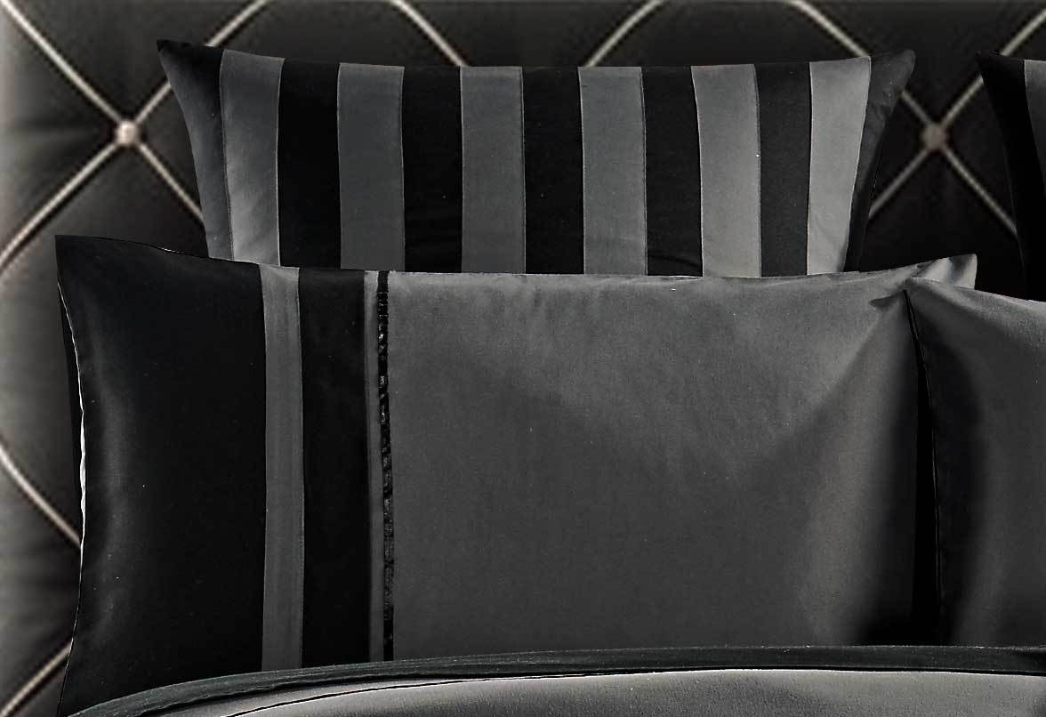 Berto Grey and Black Striped Quilt Cover Set