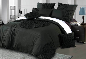 Laura Circle Charcoal / Black Quilt Cover Set with optional accessories