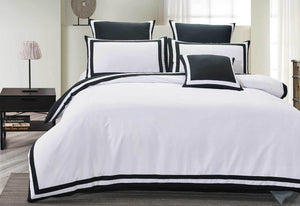 Halsey Trim White Quilt Cover Set by Luxton