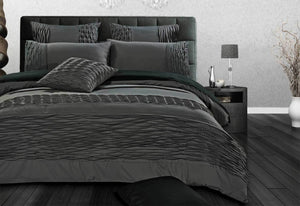 Cecilio Quilt Cover Set with Stone Grey Pintucking