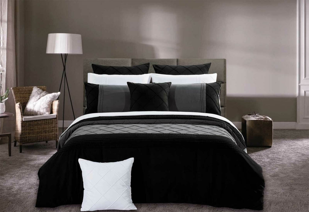 Arista Black Diamond Pintuck Quilt Cover Set