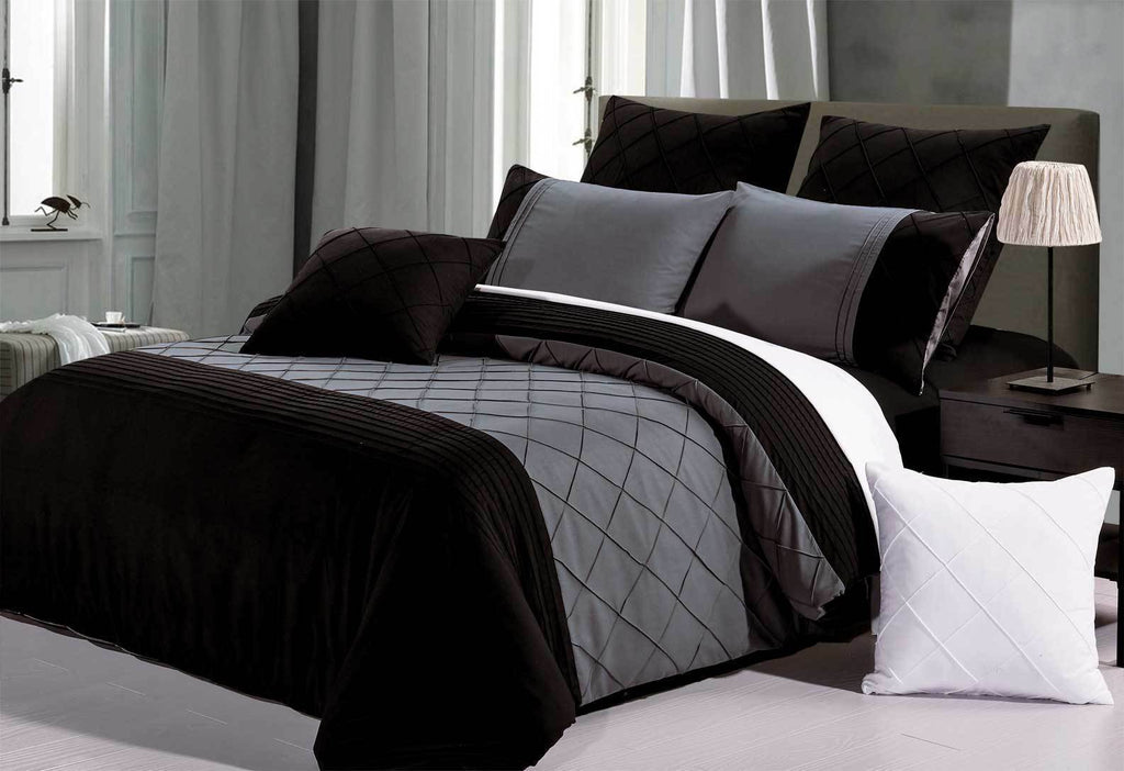 Black Grey Diamond Pintuck Quilt Cover Set