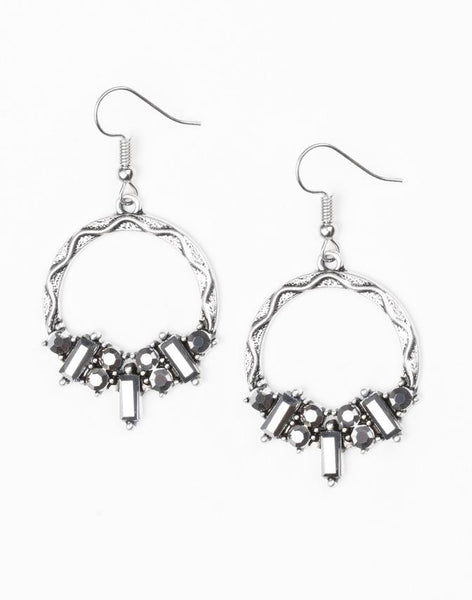 Paparazzi Accessories - On The Uptrend | Silver Rhinestone Hoop | Paparazzi Earring - Earrings