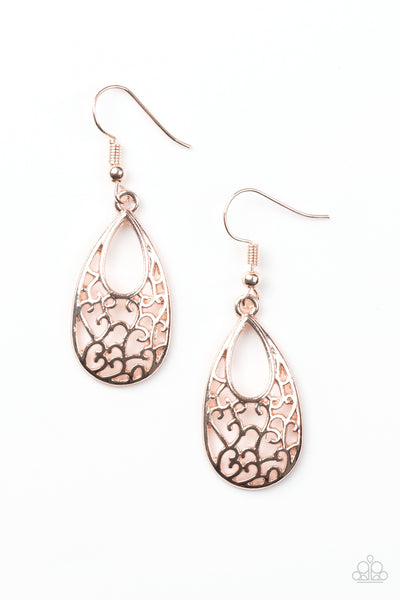 "Paparazzi Accessories - Paparazzi Earring - ""Always Be VINE"" - Rose Gold - Earrings"