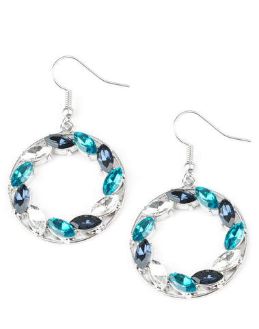 "Paparazzi Accessories - Paparazzi Accessories ""Global Glow"" Teal Black White Marquise Rhinestone Earring - Earrings"