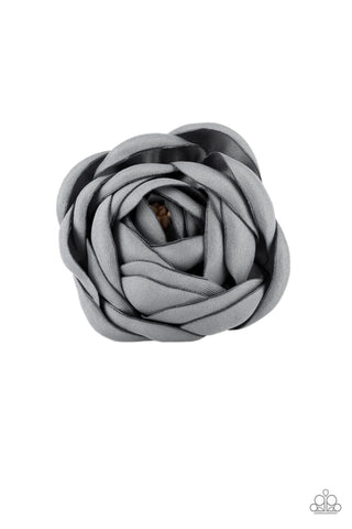 "Paparazzi Accessories - Paparazzi ""Rose Romance"" -Silver Rosebud Hear Clip - Hair Accessories"