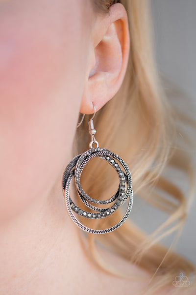 "Paparazzi Accessories - Paparazzi ""Elegantly Entangled"" Silver Rhinestone Hoop Earrings - Earrings"