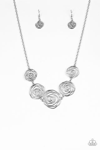 Paparazzi Accessories - Paparazzi | Rosy Rosette | Silver Rosebud Necklace and Earring Set - Necklaces
