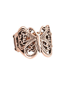 "Paparazzi Accessories - Paparazzi ""All Aflutter"" Copper Butterfly Ring - Rings"