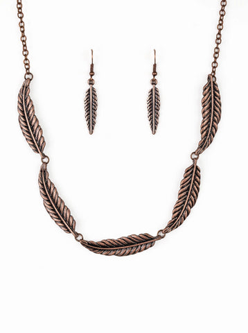 Paparazzi Accessories - Paparazzi Light Flight Copper Feather Collar Necklace and Earring Set - Necklaces