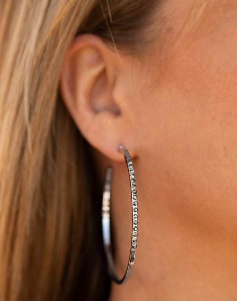 "Paparazzi Accessories - Paparazzi ""Make The FIERCE Move"" - Silver Rhinestone Hoop Earring - Earrings"