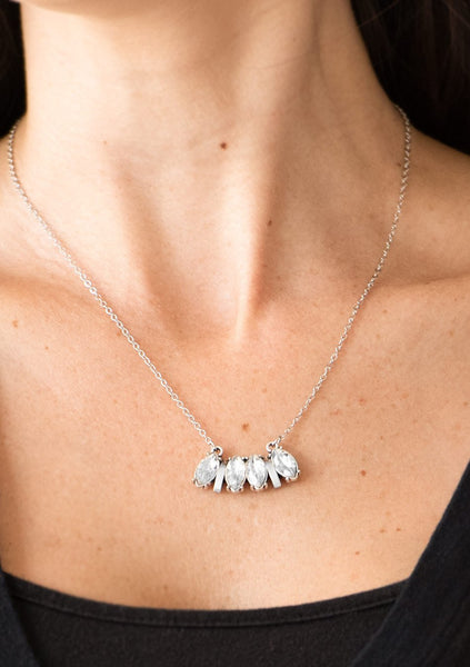 "Paparazzi Accessories - Paparazzi ""Deco Decadence"" White Rhinestone Silver Necklace and Earring Set - Necklaces"