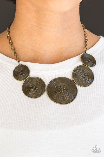 "Paparazzi Accessories - Paparazzi ""Deserves A Medal"" Antiqued Brass Necklace and Earring Set - Necklaces"