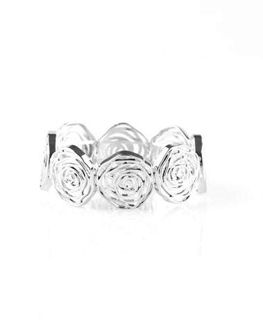 Paparazzi Accessories - Beat Around the Rosebush | Silver Rose | Paparazzi Bracelet - Bracelets
