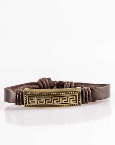 "Paparazzi Accessories - Paparazzi ""Ruins Raider"" Brown Leather Brass Plate Bracelet - Bracelets"