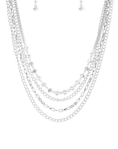 Paparazzi Accessories - Extravagant Elegance Silver Necklace - Necklaces