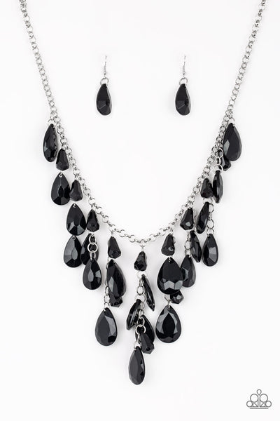 Paparazzi Accessories - Paparazzi - Irresistible Iridescence - Black Teardrop Necklace and Earring Set - Necklaces
