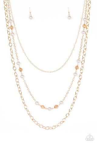 "Paparazzi Accessories - Paparazzi Accessories ""Classical Cadence Gold Bead Pearl Necklace and Earring Set - Necklaces"